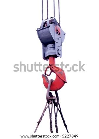 Construction crane hook isolated on white - stock photo