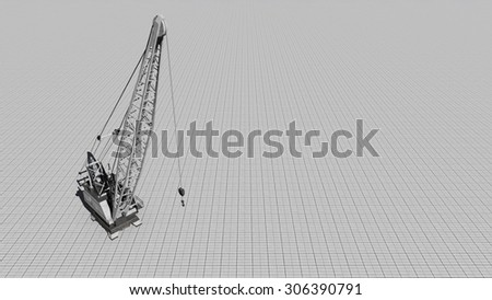 Construction crane on a gray background. Illustration on the theme of building was done from my own 3D rendering file - stock photo