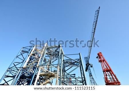 construction cranes - stock photo