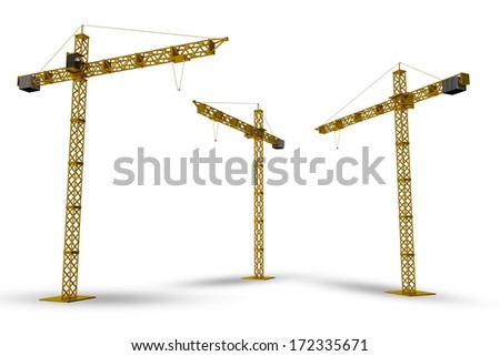 Construction Cranes Isolated on White. 3D Render Cranes Illustration. - stock photo