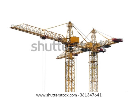 Construction cranes on a white background - stock photo