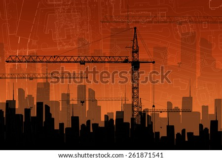 Construction cranes on the background buildings. The concept of building - stock photo