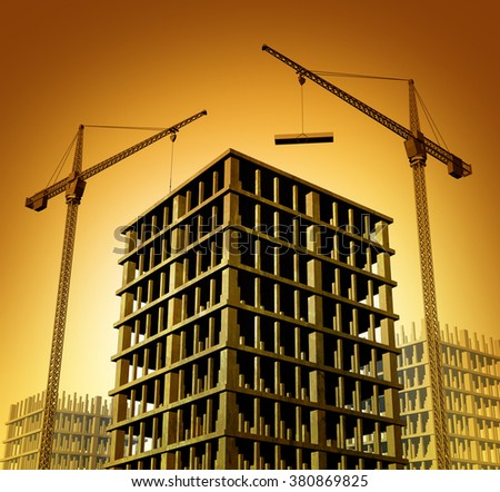Construction development site with building cranes constructing condominiums or a business apartment skyscraper as a symbol for economic growth and activity on a sunset background. - stock photo