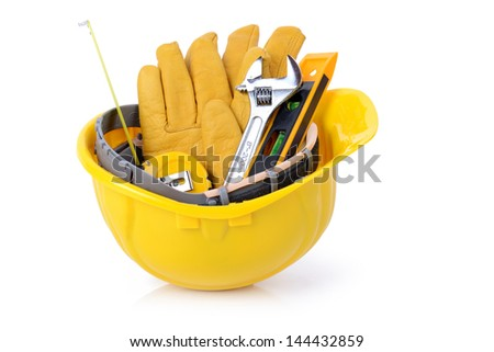 Construction DIY tools ready for work isolated on white background - stock photo
