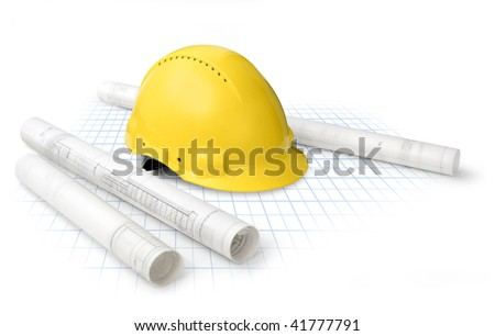 Construction drawing blueprints and yellow  hard hat isolated - stock photo