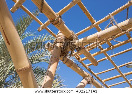 construction elements truss of bamboo and ropes
