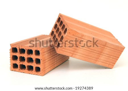 construction elements two  red bricks isolated on white background