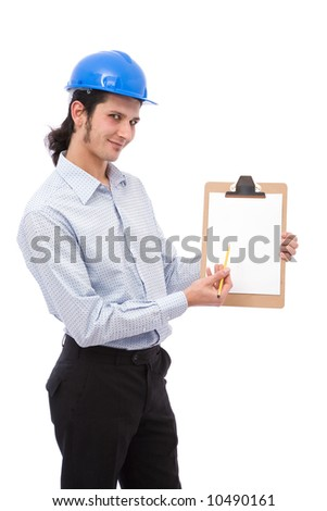 construction engineer at a presentation with clipboard