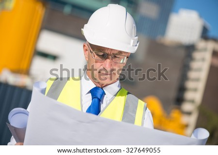 Construction engineer in hardhat with project in hands