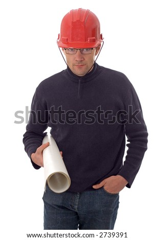 Construction engineer with roll of projects in hand