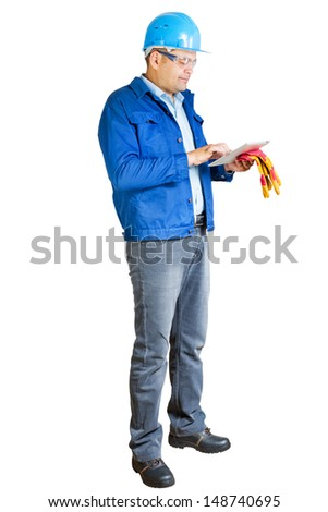 construction engineer with tablet pc isolated - stock photo