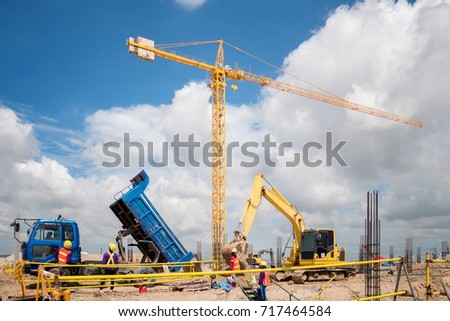 Construction Equipment In Site Blue Sky Background