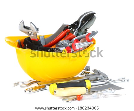 Construction equipment isolated on white - stock photo
