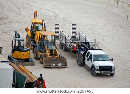 Construction equipment parked on beach