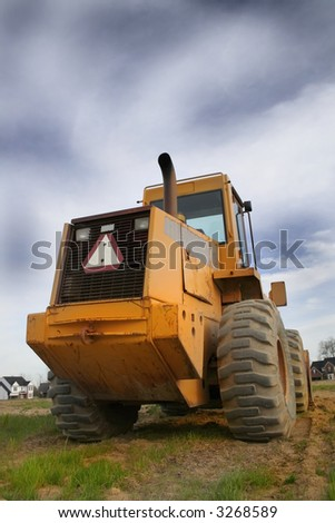 Construction equipment wide angle - stock photo