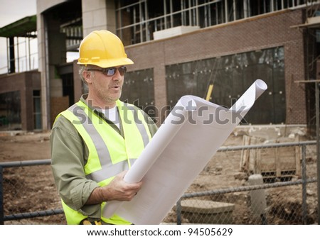 Construction Foreman on the Job site - stock photo
