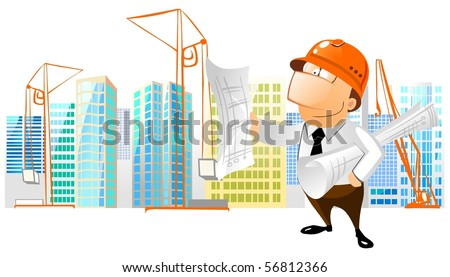 Construction foreman reading a building plan. - stock photo