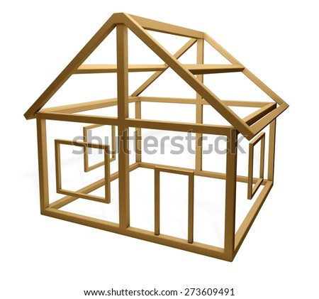 Construction Frame. 3D. Home Construction - stock photo