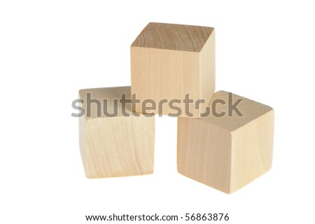 construction from wooden cubes. It is isolated on a white background - stock photo