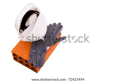 Construction gear isolated in white - stock photo