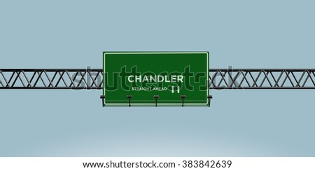 construction green road sign chandlier straight ahead