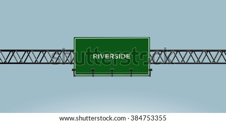 construction green road sign riverside