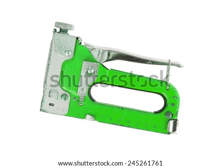 Construction hand-held stapler, isolated on white background, green