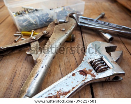 Construction hand tools,Machinist tools on wooden floor background