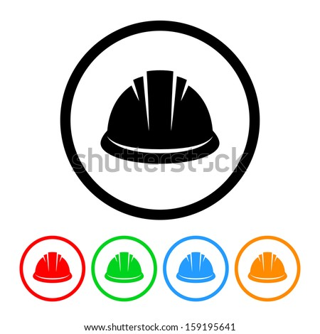 Construction Hard Hat Icon with Color Variations. Raster version. - stock photo