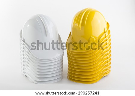 Construction hat on a white background - stock photo