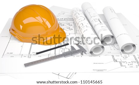 Construction helmet and calipers in the drawings. Isolated on white background - stock photo