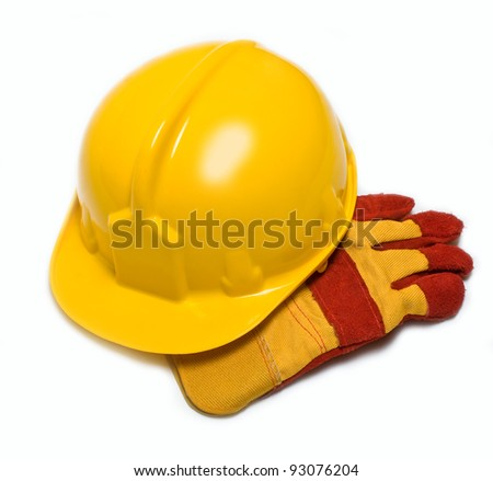construction helmet and gloves on a white background - stock photo