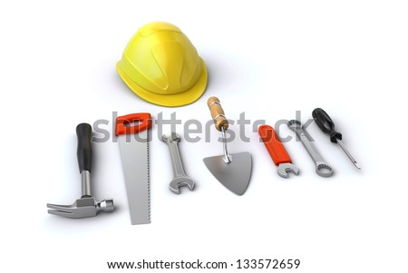 construction helmet and tools - stock photo
