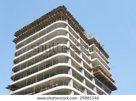 Construction house on a background of blue sky - stock photo