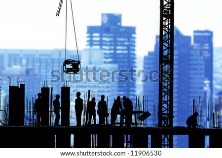 construction in city - stock photo