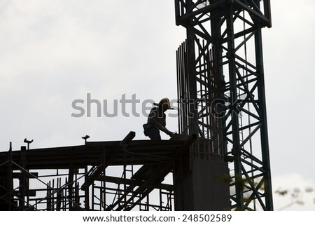 construction in progress at down town - stock photo