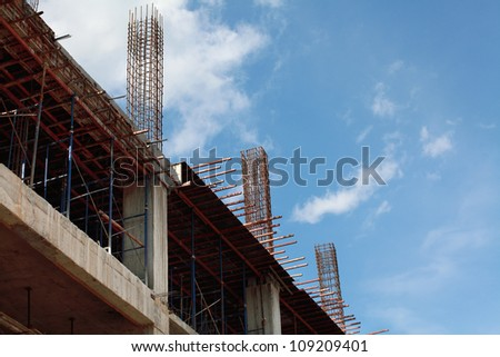 construction in thailand . Office building development. - stock photo