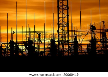 Construction in the dusk - stock photo