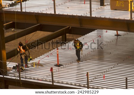 Construction -  industrial development, safety first concept image - stock photo