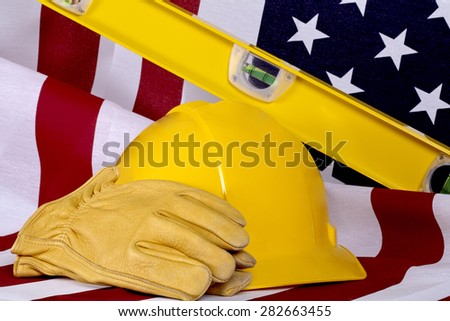Construction Industry Business USA American Made Tools and Flag - stock photo
