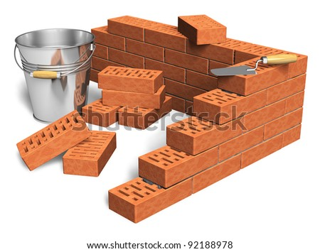 Construction industry concept: fragment of red brick wall, heap of bricks, trowel and metal bucket isolated on white background - stock photo