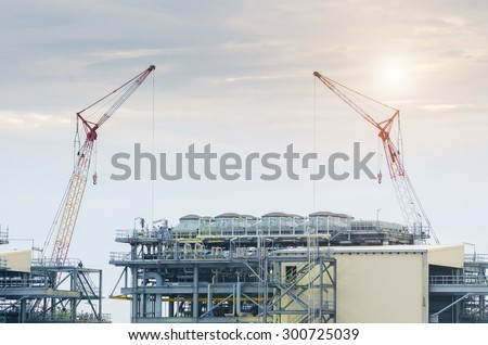Construction Industry  , Construction oil refinery , working site - stock photo