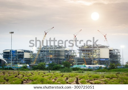 Construction Industry in dry Areas , Construction oil refinery , working site - stock photo