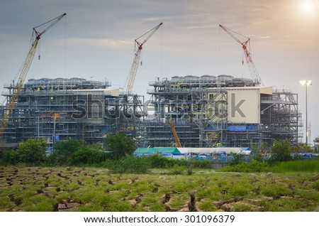 Construction Industry in dry Areas , Construction oil refinery , working site , Oil Rig - stock photo