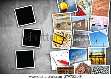Construction industry themed photo collage with stacked pictures over cement concrete wall texture as copy space and three blank frames for design mock up. - stock photo