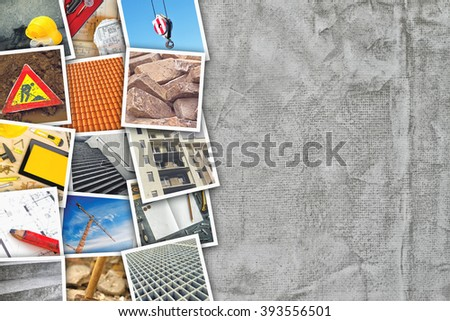 Construction industry themed photo collage with stacked pictures over cement concrete wall texture as copy space. - stock photo
