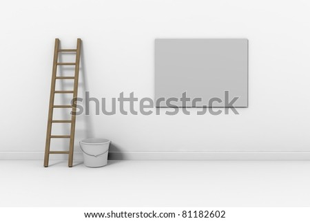 Construction ladder on a white wall - stock photo