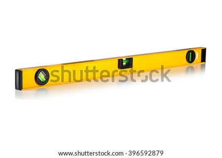 construction level with a ruler on a white background - stock photo