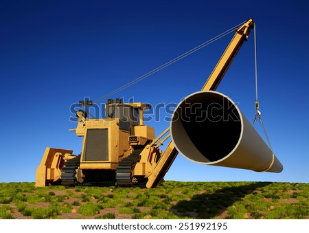Construction machinery laying pipe in the ground. - stock photo