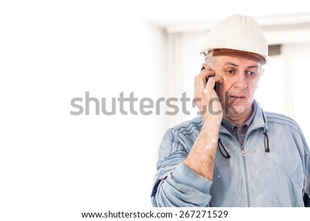 Construction manager. Problems on reconstruction area  - stock photo